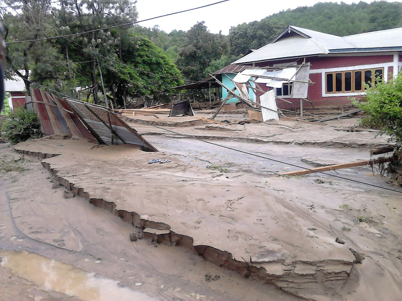 Aftermath of flood in Chandel